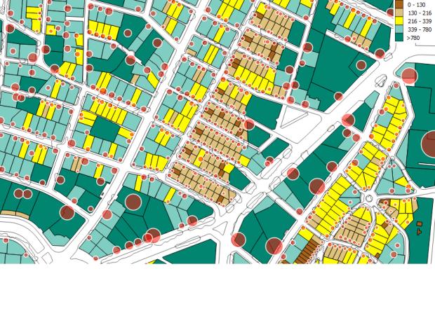 El Viso. Surface des parecelles. La taille des cercles rouges est proportionnelle a la surface batie de logements sur chaque parcelle